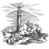 Lighthouse lighthouse in the dark and sea landscape, storm hand drawn vector illustration realistic sketch.  royalty free illustration