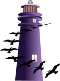 Lighthouse at day. Very nice illustrated image of lighthouse and birds at day time royalty free illustration