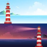Lighthouse during day and night horizontal banner set. Vector illustration Stock Photos