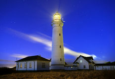Lighthouse. In Denmark late one night Stock Image
