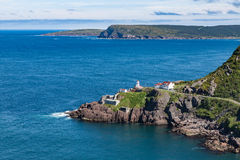Lighthouse and derelict Fort Amherst outside St. John's Newfound Royalty Free Stock Photo