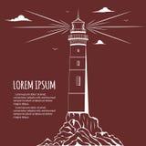Lighthouse design postcard Royalty Free Stock Image