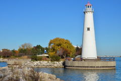 Lighthouse on the Detroit River. Marina at St. Aubin Park in downtown Detroit stock images
