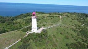 Lighthouse dornbusch at hiddensee island. Summer landmark stock video footage