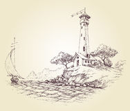 Lighthouse  drawing Stock Photos