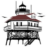 Lighthouse Drawing Vector Illustration. Clean simple two color vector illustration of a screw-pile style lighthouse stock illustration