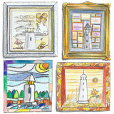 Lighthouse Drawings. Illustration of pencil drawing lighthouses Stock Image