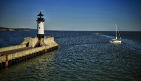 Lighthouse in the Duluth harbor Royalty Free Stock Photography