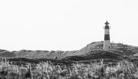 Lighthouse and dunes BW Royalty Free Stock Image