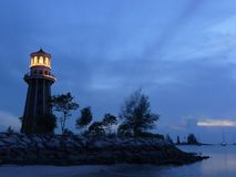 Lighthouse at dusk. A lighthouse at dusk. Picture taken in Langkawi Island, Malaysia Royalty Free Stock Photos