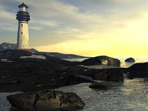 Lighthouse at Dusk. 3D digital rendering of Lighthouse scenic Stock Image