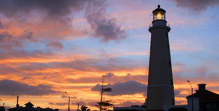 Lighthouse at dusk. Punta del Este, Uruguay. royalty free stock photography