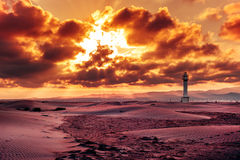 Lighthouse at El Fangar, in the Ebro Delta, in Spain Stock Photography