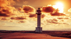 Lighthouse at El Fangar, in the Ebro Delta, in Spain Royalty Free Stock Images