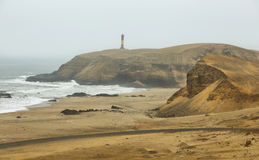 Lighthouse from. `El Faraon or de la Isla` beachduring early morning in Puerto Supe, Barranca province, Peru Royalty Free Stock Photo