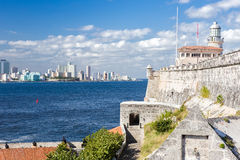 The lighthouse of El Morro with the Havana skyline Stock Photography