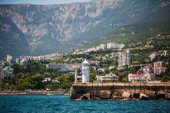 Lighthouse on embankment of Yalta, Crimea Royalty Free Stock Images