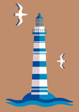Lighthouse emblem. Lighthouse illustration with and sea waves Royalty Free Stock Images