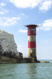 The lighthouse at the end of The Needles on the Isle of Wight Stock Photo