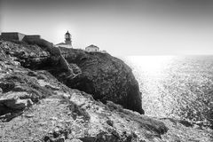 Lighthouse on the end of Saint Vincent Cape, Portugal Stock Images