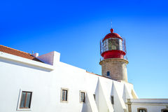 Lighthouse on the end of Saint Vincent Cape, Portugal Stock Photos