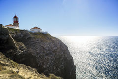 Lighthouse on the end of Saint Vincent Cape, Portugal Royalty Free Stock Images