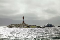 The Lighthouse at the End of the World in Beagle Channel, Argentina Stock Image