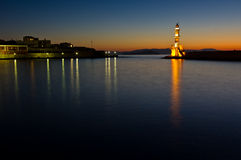 Lighthouse at the entrance of Hanja harbour Stock Photo