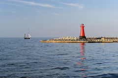 Lighthouse, entrance to the harbor, Gdansk, Poland Stock Photos