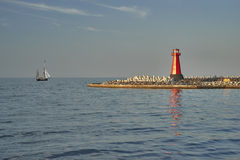 Lighthouse, entrance to the harbor, Gdansk, Poland Stock Photography