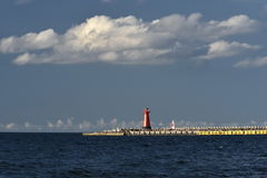 Lighthouse, entrance to the harbor, Gdansk, Poland Royalty Free Stock Photos