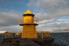 Lighthouse in the entrance to Reykjavik harbor stock photography