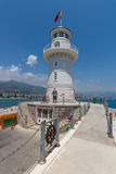 The lighthouse at the entrance to the sea port of Alanya Royalty Free Stock Images