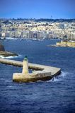 Lighthouse in Valletta,Malta. Lighthouse And Entrance to Valleta Harbour,Malta Stock Image