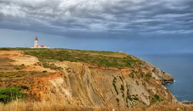 Lighthouse of Espichel cape. Sesimbra, portugal Royalty Free Stock Photography