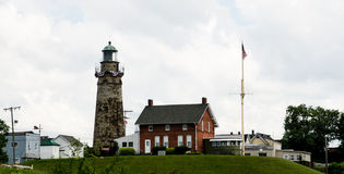 The lighthouse at Fairport Harbor ohio during a summer day. Stock Photos
