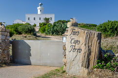 Lighthouse at Faro cape, Sardinia Stock Images