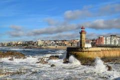 Lighthouse Farol de Felgueiras, Porto. Royalty Free Stock Image