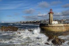 Lighthouse Farol de Felgueiras, Porto. Stock Photos