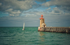 Lighthouse at Fecamp Normandy Stock Image