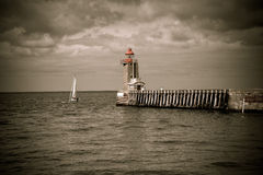 Lighthouse at Fecamp Normandy Royalty Free Stock Photography