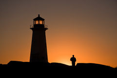 Lighthouse and Figure Stock Images