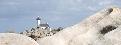 Lighthouse on Finistere beach Stock Photography