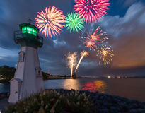 Lighthouse fireworks Royalty Free Stock Photos