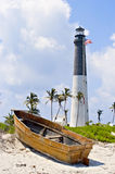 Lighthouse, flag and boat Royalty Free Stock Photography