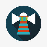Lighthouse flat icon with long shadow. Vector illustration file stock illustration