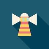 Lighthouse flat icon with long shadow. Vector illustration file royalty free illustration