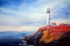 Lighthouse & Flower Valley-Watercolor on paper Painting Royalty Free Stock Photography