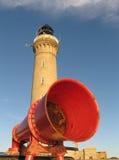 Lighthouse with fog horn. Ardnamurchan Ligthouse with fog horn stock photography