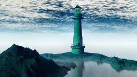 Lighthouse fog, wide Royalty Free Stock Images